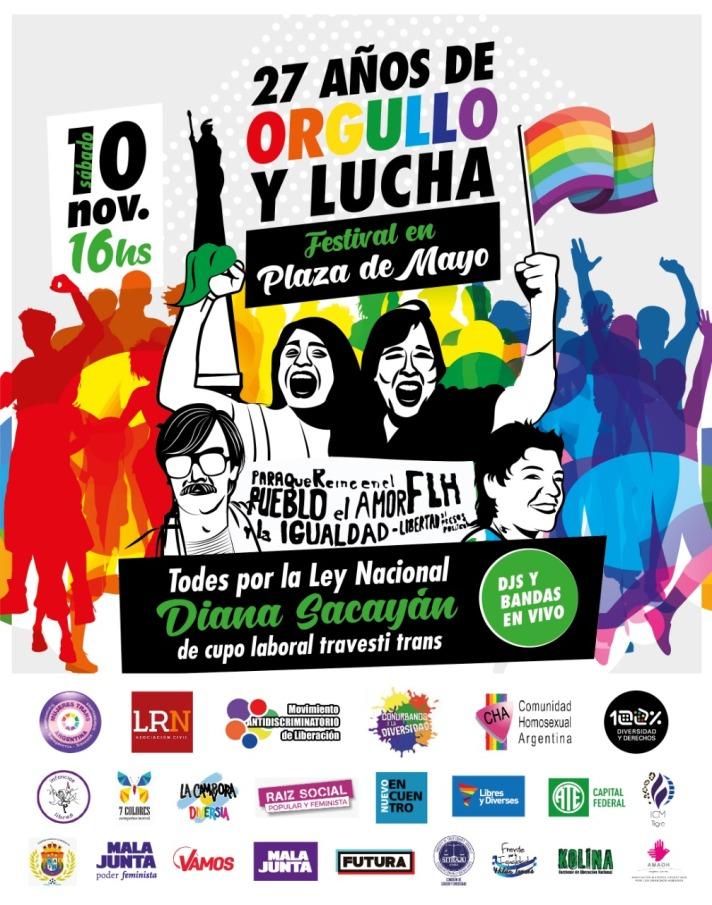 Flyer Festival Orgullo y Lucha Artisitica Convocantes 08 11 2018